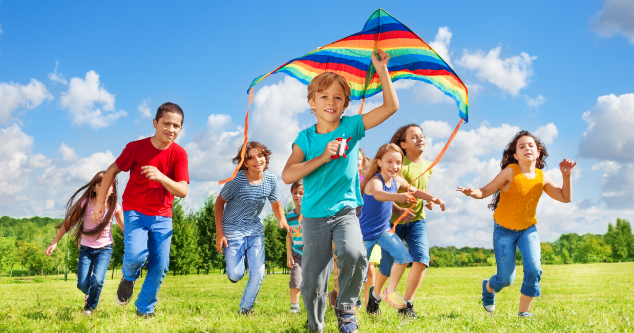 Children Flying Kite